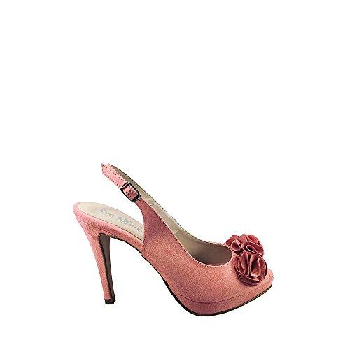con 38 Rosa Sandalia Alto Antelina Muy Flores cuerolite Talla Color Tacón Vestir Suela de EN Pala ZRTnTq0BE