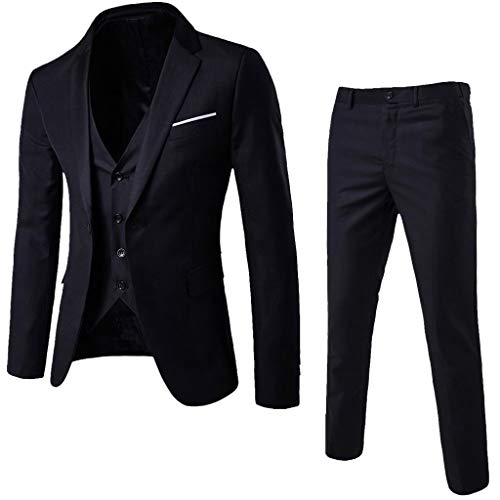 Men's Suit Slim 3-Piece Suit Blazer, Business Wedding Party Jacket Vest & Pants, Sunsee Teen 2019 New Year (Overalls Cotton Smith)