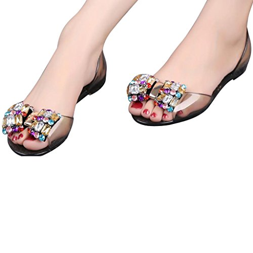 Picture of Dear Time Women Summer Bowknot Peep Toe Crystal Flat Sandals