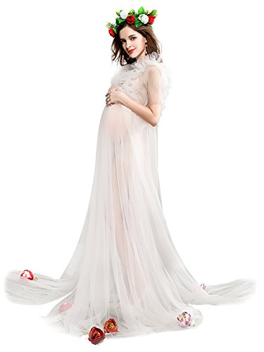 EPLAZA Maternity Maxi Dress Set Sleeveless Split Photography Gown ()
