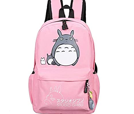 b8965b0395 Thedmhom 1 Pcs New Cute Kawaii Animal Classic Cartoon Anime Pink Canvas  Totoro Backpack Stationery Fashion