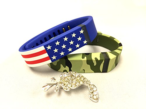 Set Small S 1 Green Camouflage Camo Army Military 1 American Flag Colors Replacement Bands With Clasps for Fitbit FLEX Only /No tracker/ Wireless Activity Bracelet Sport Wristband Fit Bit Flex Bracelet Sport Arm Band Armband + Nice Crystals Feather Brooch Crystal Flex Bracelet