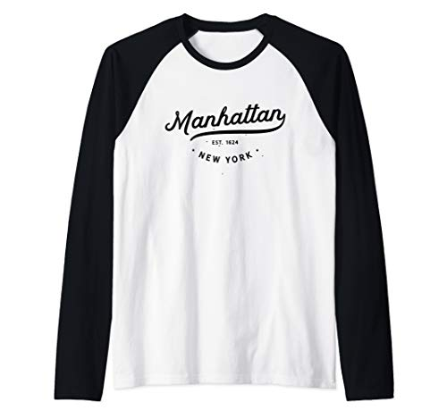 (Classic Retro Vintage Manhattan New York City Gift Raglan Baseball Tee)