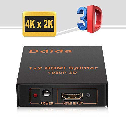 Hdmi Splitter,Ddida Powered Full HD 1080P V1.4 Support 4K/2K and 3D Resolution-1 Source To 2Displays (Selector Video Source)