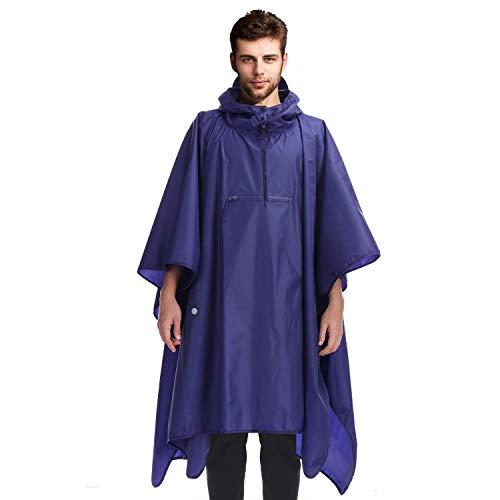 Andake Reusable Rain Poncho, Portable Foldable Raincoat, Rain Gear for Walking Hiking Camping Adult Women Men
