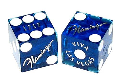 Pair (2) Flamingo Casino Las Vegas 19mm Authentic Table-Played Dice (Blue) - Flamingo Las Vegas