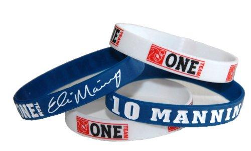 NFL Denver #10 Eli Manning Official Signature Wristband With Bonus NFLPA One Team Football Wristband (Medium)