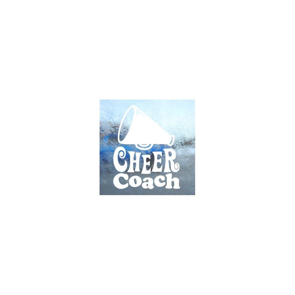 Cheer Coach White Decal Car Laptop Window Vinyl White Sticker