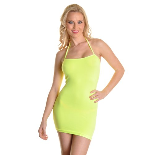 [Angelina Neon Color Halter Style Seamless Mini Dress #70497_Yellow] (Neon Outfits)