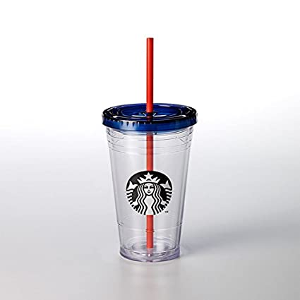 e0cf2334add Starbucks Blue Top Cold Cup, 473 ml/16 fl oz, Clear Plastic Cold Cup ...