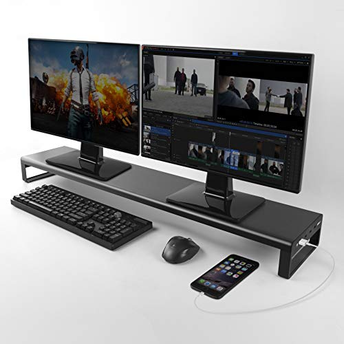Dual Monitor Stand Riser with 8 USB 3.0 Hub Ports, Aluminum Strong&Sturdy for Laptop Computer, TV, PC, Printer, Multi Media Speaker-Multifunctional Desktop Organizer