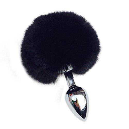 1PC Metal Anal Plug Tail Rabbit Tail Butt Plug Anal Sex Toys Anal Tail Plug (black)