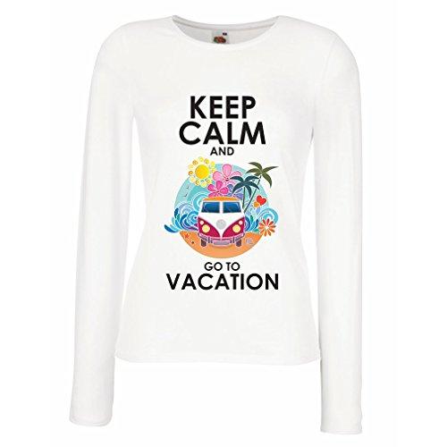 N4442M Weibliche langen Ärmeln T-Shirt Keep Calm and Go to Vacation (Small Weiß Mehrfarben)