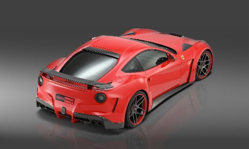 "Novitec N-Largo based on Ferrari F12berlinetta (2013) Car Art Poster Print on 10 mil Archival Satin Paper Red Rear Side Studio View 36""x24"""