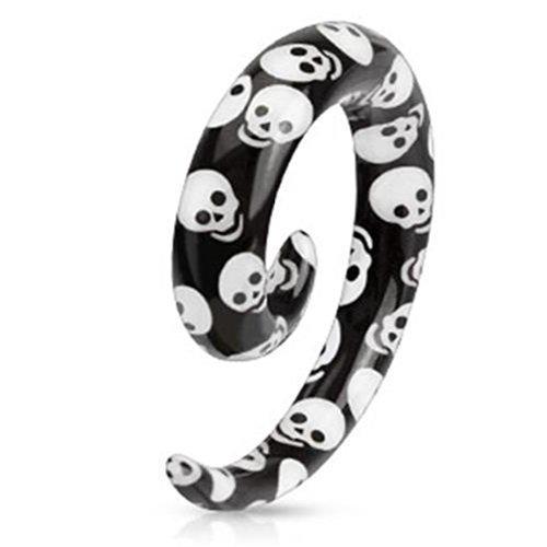 """Coolbodyart Unisex 1x Spiral Expander Taper Dehnstab """"Skull Totenkopf"""" verfüg..."""
