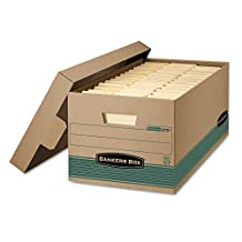 Bankers Box Recycled Stor/File Storage Box, Locking Lift-Off Lid, Letter Size, FastFold Assembly, Kraft Brown