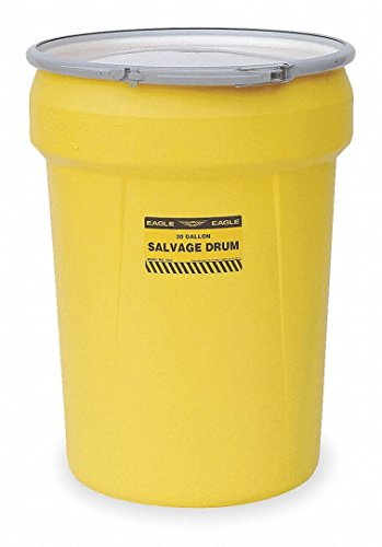 Feed Drum - Eagle 1602 Salvage Drum with Metal Lever-Lock Ring, Yellow