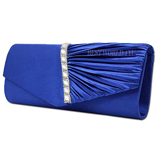 Bolso Cristal Bolsos Para Mujer Bolso Del Del Wocharm De Boda De Plisado Tachonada De De De Fiesta De Monedero Mujer Del Tarde La Embrague Moda Real La Para Del Hombro Satén Azul Novia De qvdpwt