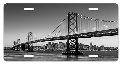 Lunarable City License Plate, Sun Setting View of San Francisco Bay Bridge California USA Tourist Attraction Image, High Gloss Aluminum Novelty Plate, 5.88 L X 11.88 W Inches, Black Grey
