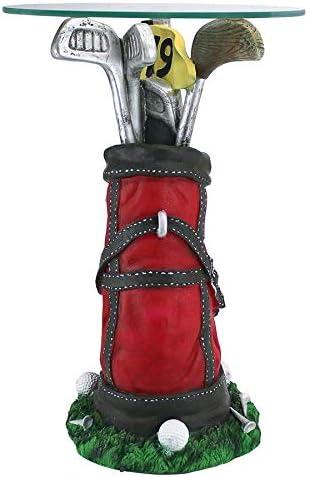 Design Toscano On Par Golf Bag Sculptural Glass-Topped Table