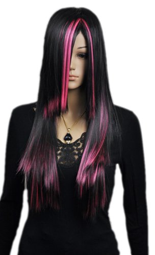 Paixpays Fresh Pink Red Black Mixed Color Lolita Ramp Bangs Women Cosplay Wigs