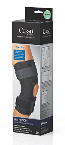 CURAD Wrap-Around Hinged Knee Support for Arthritic or Mild Sprain Knees, Fixed Support, Microban Antimicrobial Protection, Size Medium