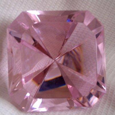 (Oleg Cassini - Elizabeth - Rose Pink Emerald Square Diamond Cut Gem Crystal Signed)