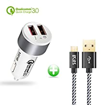 Quick Charge 3.0, iKits 30W Dual USB Car Charger, Portable Car Quick Charger, 5V/2.4A+QC3.0 for Samsung Galaxy S7/S6/Edge/Plus/Note 5/4, HTC, iPhone 7/iPad Pro/Air 2/mini and more + 4ft Mico USB Cable