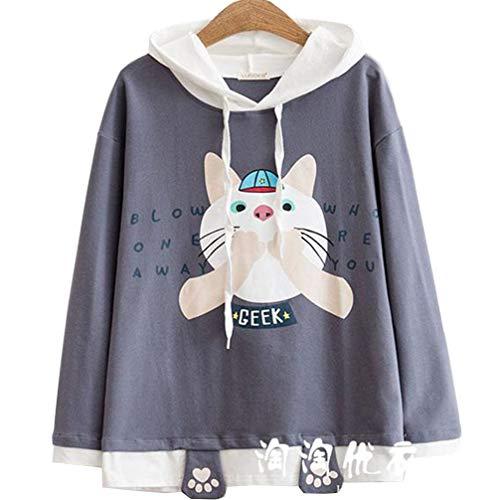 【ジンピン】日本の女性の大学風のかわいい漫画の猫の緩い長袖のフード付きのセーター女性の秋の学生ジャケットシャツ