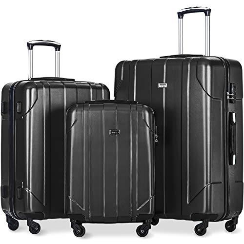 Merax Luggage Sets 3 Piece Lightweight P.E.T Luggage 20inch 24inch 28inch, Black