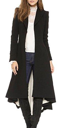 Long Black Swing Coat - 1