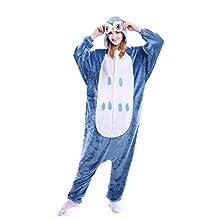Elonglin Adult Unisex Pajama Animal Onesie Cosplay Flannels Costume Hooded Sleepsuit Sleepwear Nightwear For Home Party Halloween Music Festival Owl Length 57-62 inch