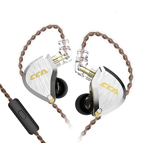 CCA C12 in-Ear Earphone,Zinc Alloy Faceplate Resin Cavity in Ear Monitor, Wired IEM Sport Earphone HiFi Stereo Bass Gaming in Ear Hearphone,Ultra Clear Sound for Workout,Running,Gym Gold with mic