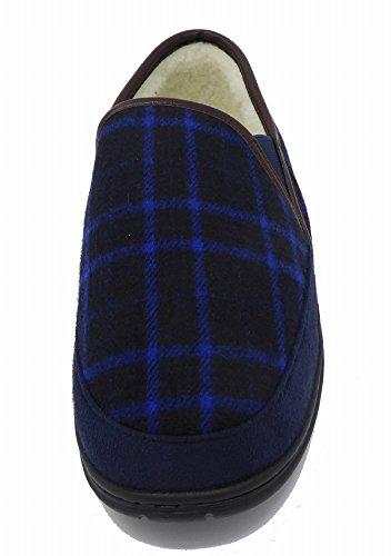 Dunlop, Pantofole Piatte Da Uomo, Blu - Plaid Blu Scuro - Misura: 42