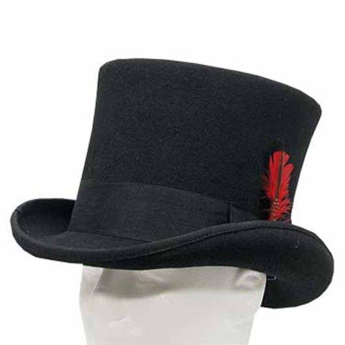 (SEBASTIAN VICTORIAN Mad Hatter Tall Top Hat Wool Felt Classic 7-5/8)
