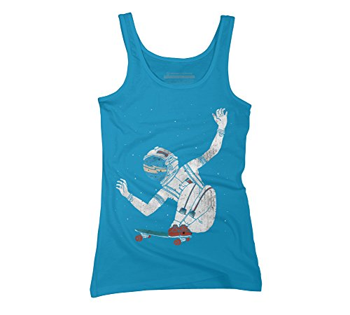 Design By Humans Space Board Juniors' Small Turquoise Graphic Tank Top