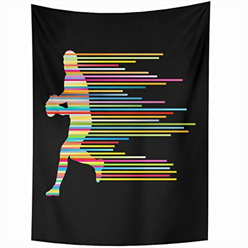 Ahawoso Tapestry 60x90 Inch Compete Field Rugby Player Sports Recreation Teamwork Ball Force Action Activity Wall Hanging Home Decor for Living Room Bedroom Dorm ()