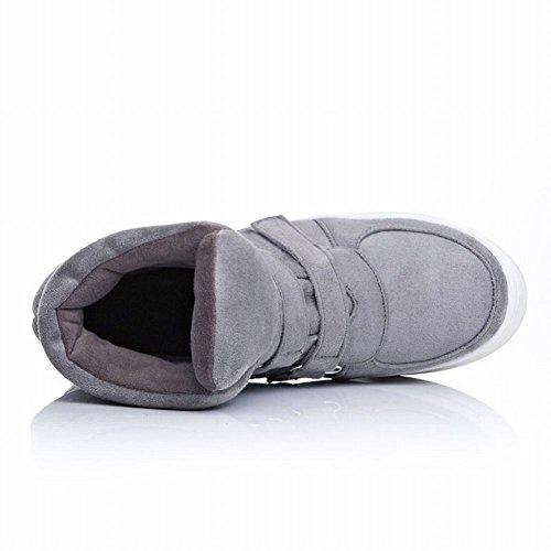 Carolbar Moda Para Mujer Comfort Warm Buckle Hidden Wedge Heel Short Botas Gris