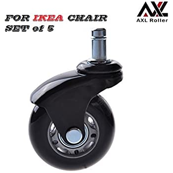 Office Chair Caster Wheels Replacement Heavy Duty For IKEA Office Chair  With Rollerblade Style (Soft