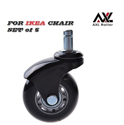AXL 2.5'' Office Chair Caster Wheel Replacement for Ikea Rollerblade Wheels Heavy Duty Casters for Hardwood Floors Safe, Set of 5 (AR-iK-0250006B-GRYB) by AXL Roller