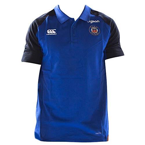 Canterbury 2018-2019 Bath Rugby Vapordri Performance Cotton Polo Football Soccer T-Shirt Jersey (Blue)