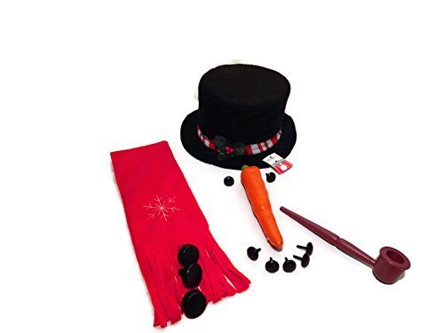 8 Piece Snowman Kit~Hat, Scarf, Eyes, Carrot Nose, 1 Pipe and 3 Buttons~ -