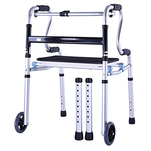 Handrail Section - Elderly person supplies Folding Walker, Disabled Rehabilitation Wheeled Walker with seat, Old Light Four-Legged Cane Height Adjustable, Suitable for Middle-Aged and Disabled People ZDDAB