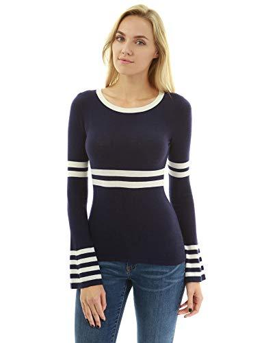 PattyBoutik Women Lightweight Striped Bell Sleeve Sweater (Navy Blue and Ivory - Navy Sweater Crewneck