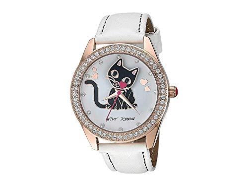 - Betsey Johnson Women's Cat Motif Dial Strap Watch White/Rose Gold One Size