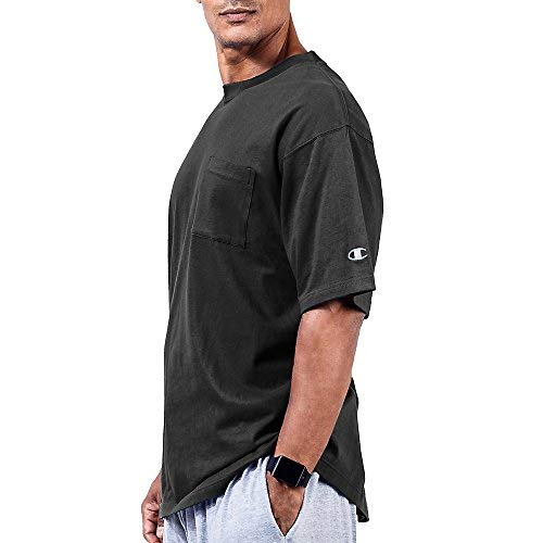 Champion Big & Tall Men`s Short Sleeve Pocket Jersey Tee Black - Champion Thongs