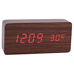 Konigswerk Wood Grain LED Alarm Clock - Time Temperature Date - Display Sound Activated - Auto Brightness Adjustment (Brown-Red) AC021G