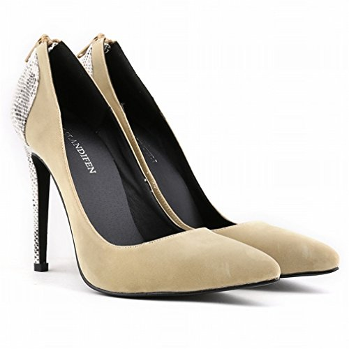 Aguja de de Baja Punta Zip Bombas Morado Boca Puntas Mujer Xianshu Zapatos Deslizante Empalme de wxSqY0St7