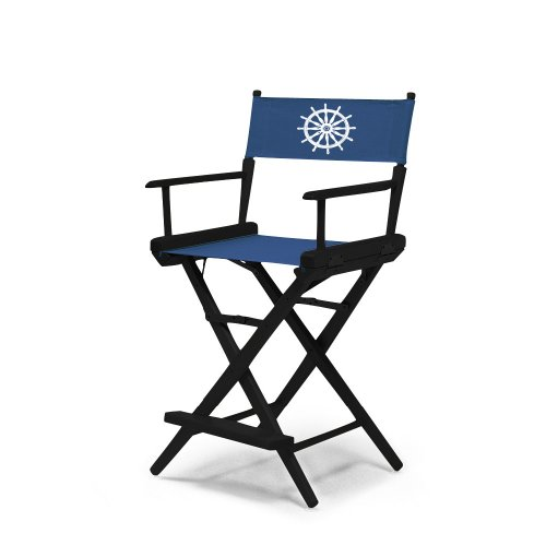 Telescope Casual World Famous Counter Height Director Chair, Black Finish with Marine Blue and White Motif Cover by Telescope Casual