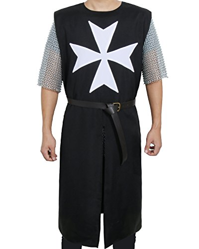 ZJYST Adult Medieval Templar Knight Crusader Tunic Cosplay Costume Outfit with Belt (Black)